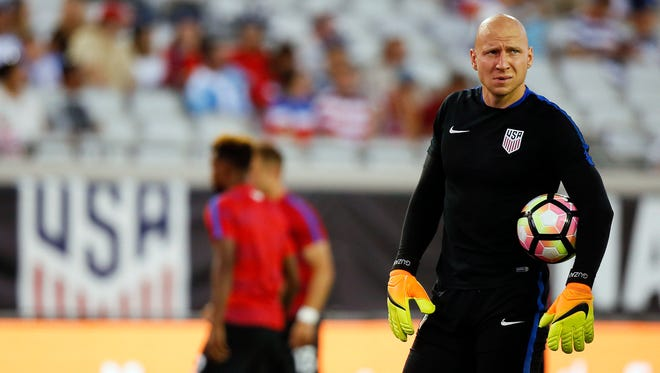 United States goalkeeper Brad Guzan (1) warms up prior to a game against Trinidad & Tobago at EverBank Field on Sept. 6.