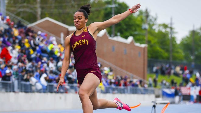 Ankeny's Jasmine Rumley competes in the 4A girls long jump Friday, May 19, 2017, during the state high school track and field championships at Drake Stadium in Des Moines.