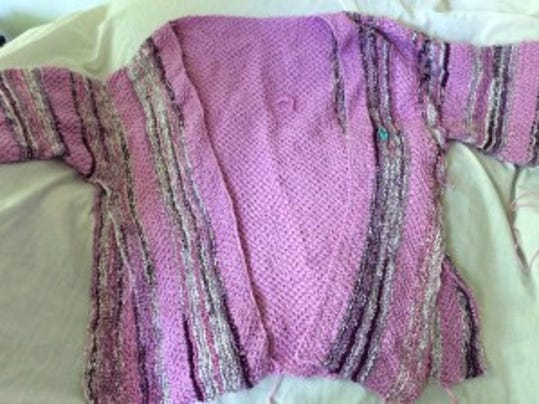 After 9 months rolled up in a heap in a project bag, this sweater looks like a mess, but it will be nice when it's finished and blocked. I still have a lot to knit, though.