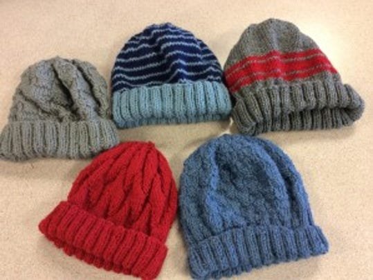 """These are the 5 hats I donated to the veterans at the """"Knitters Unite"""" night at the Hunterdon County Library."""