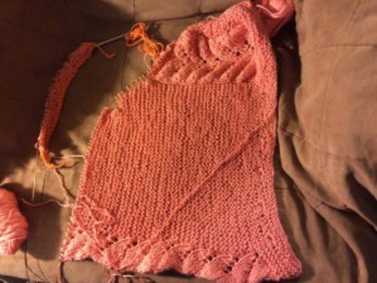 The Vine Yoke Cardigan for Mom is getting knitted slowly.
