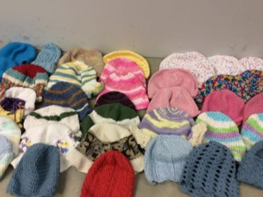 These are just some of the more than 50 hats I received today from readers, to be given to patients at the Steeplechase Cancer Center.