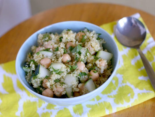Quinoa replaces cracked wheat in this tabbouleh recipe.