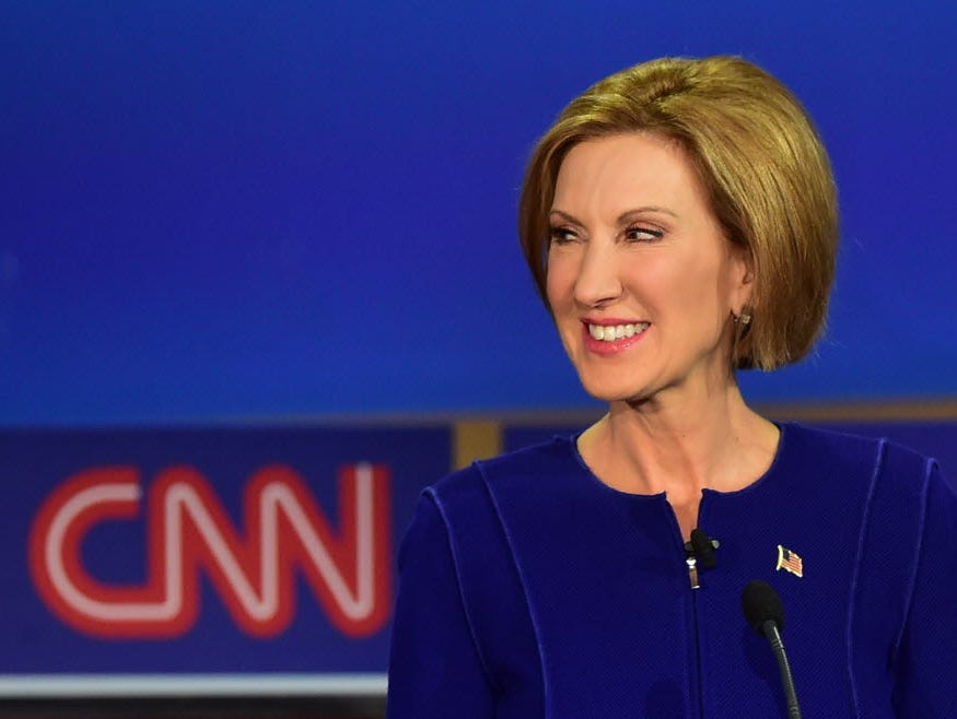 Republican presidential hopeful Carly Fiorina looks on during the Republican presidential debate  September 16, 2015.