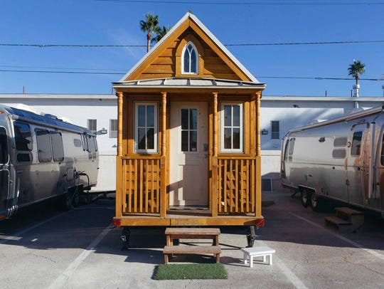 This Nov. 14, 2017, photo shows the exterior of a tiny house in Las Vegas.