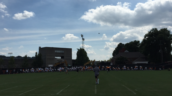 A drone hovers high above Tennessee's practice Saturday in Knoxville.