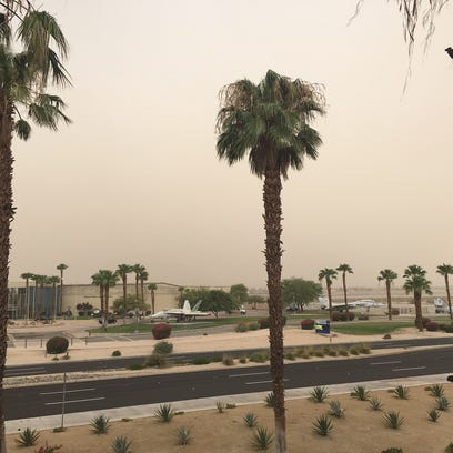 The Coachella Valley has covered in a dusty haze on
