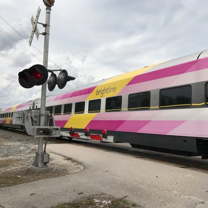 Brightline's second train, BrightPink, rolls through
