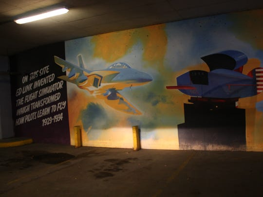 This Edward Link inspired mural is located in the Boscov's parking garage.