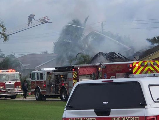 St. Lucie County Fire District crews put out a fire