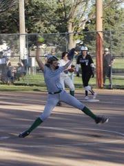 Farmington's Makayla Donald pitches against Piedra Vista on Tuesday at the Ricketts Park softball fields.