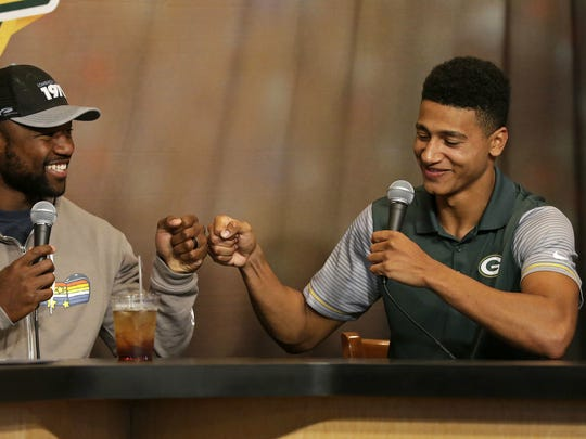 Packers rookie wide receiver Trevor Davis, right, is getting his first dose of a Wisconsin winter. He broke down and bought his first winter coat this week, as documented in a story by Sports Illustrated's The MMQB.