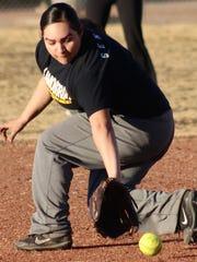 Alamogordo's Bianca Granados catches a ground ball during practice.