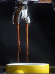 Espresso brewing on the Gaggia Classic.