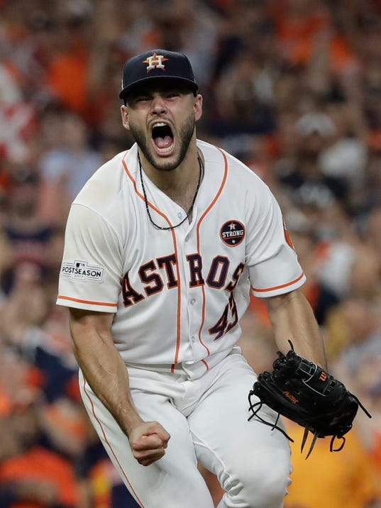 Houston Astros starting pitcher Lance McCullers Jr. reacts after getting New York Yankees' Aaron Judge to strike out during the eighth inning of Game 7 of baseball's American League Championship Series Saturday, Oct. 21, 2017, in Houston. (AP Photo/David J. Phillip)
