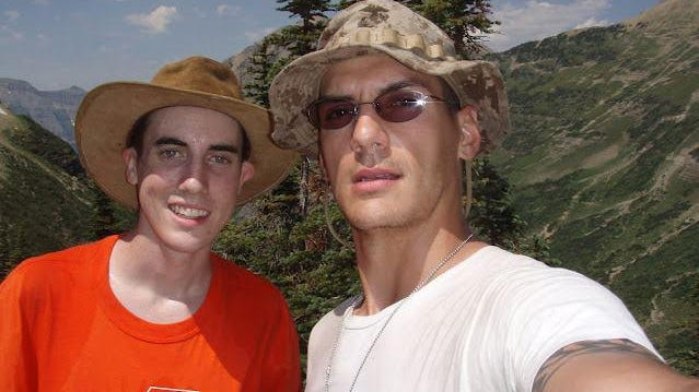Jacob, left, and Austin Tice, at Glacier National Park in Montana.