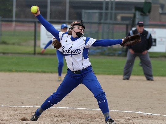 Salem sophomore pitcher Maddy Rosiewicz slings the