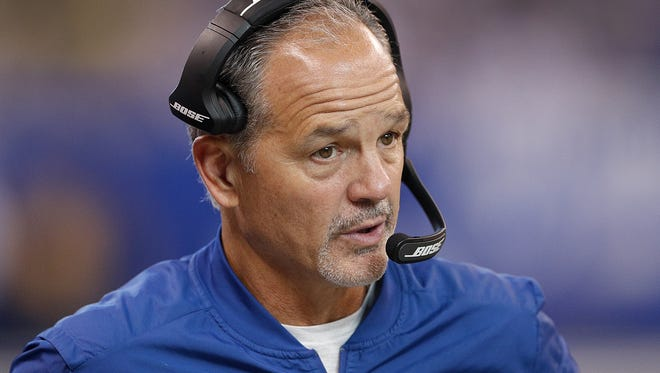 Indianapolis Colts head coach Chuck Pagano not happy on the sidelines in the second half of their game at Lucas Oil Stadium, Sunday, Oct 22, 2017. The Colts lost to the Jacksonville Jaguars 27-0.