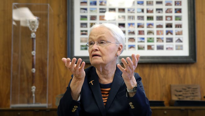 UTEP President Dr. Diana Natalicio holds a press conference May 22, 2018 to announce her decision to retire after 30 years as president. She will remain until a successor is picked by the UT System Board of Regents.