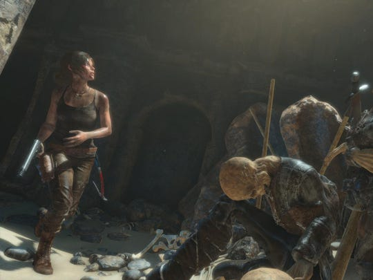 "Lara Croft is seen in the video game ""Rise of the Tomb Raider."""