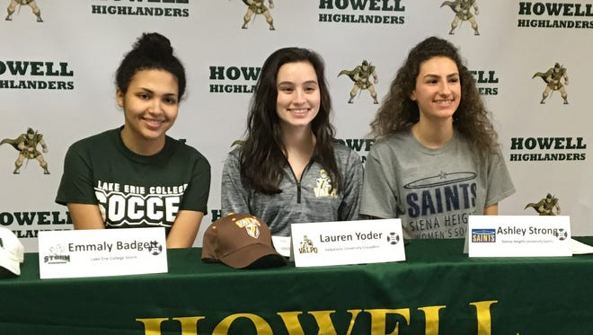 Howell soccer players (left to right) Emmaly Badgett, Lauren Yoder and Ashley Strong signed national letters of intent.