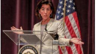 Gov. Gina Raimondo at a recent press conference.