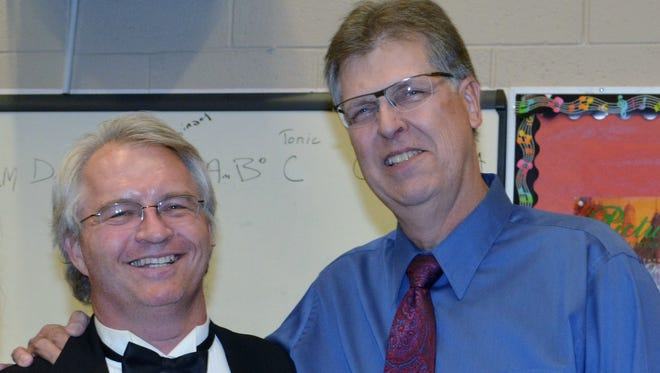 Robert Schmidt and mentor Gary Caldwell after Southwest Symphony Youth Concerto Classic on March 3.
