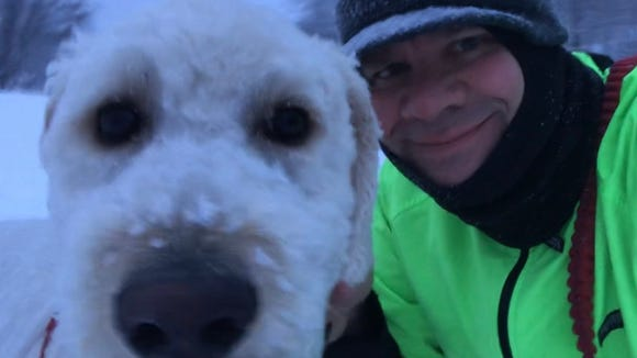 Henry the Doodler, my canine running, walking and activity partner, loves winter. Sometimes it's catching.