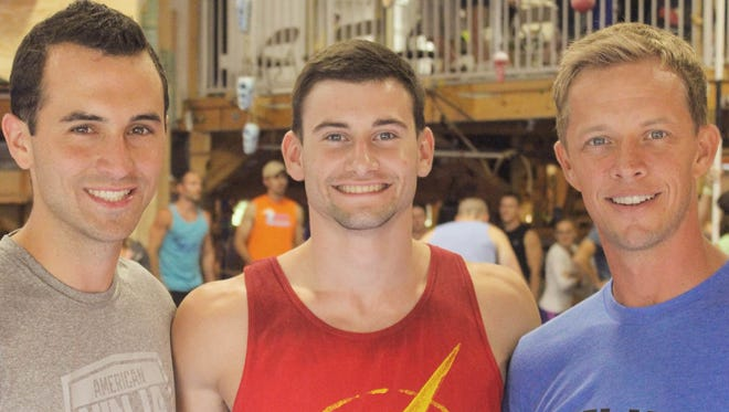 """Drew Knapp of Suamico, center, made it to the Indianapolis finals on """"American Ninja Warrior{"""" and was eliminated during Monday's episode on NBC."""