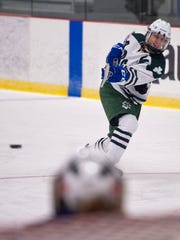 Vermont Shamrocks defender Dakota Bilodeau rifles a shot at the net during the third period of the USA Hockey Tier II U-19 national championship game on Monday at Cairns Arena.