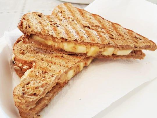 Peanut butter and bananas panini ($4)