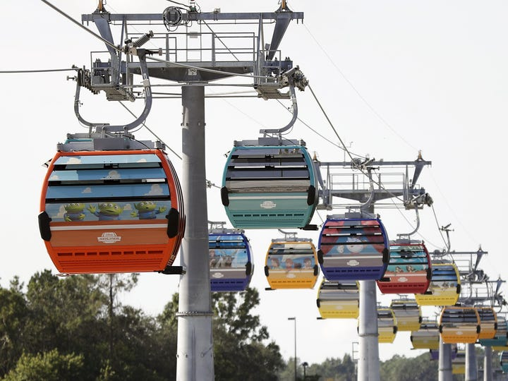 Gondolas move to various locations at Walt Disney World on the Disney Skyliner aerial tram in Lake Buena Vista, Fla. The Disney Skyliner gondolas, which opened to visitors Sunday, are the latest addition to one of the largest private transportation systems in the U.S.