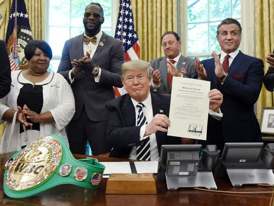 President Trump grants posthumous pardon to former heavyweight champion Jack Johnson- DC, Washington, USA - 24 May 2018