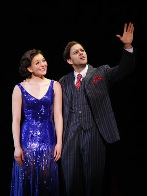 "Caitlin Ehlinger stars as Peggy Sawyer and Matthew J. Taylor as Julian Marsh in the touring production of ""42nd Street."""