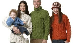 This pattern from Lion Brand will yield sweaters to fit the whole family.