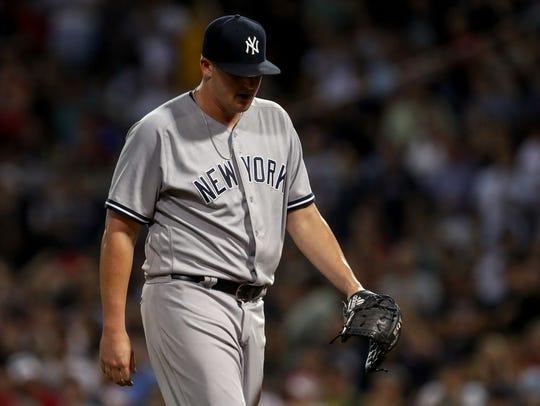 Aug 2, 2018; Boston, MA, USA; New York Yankees relief