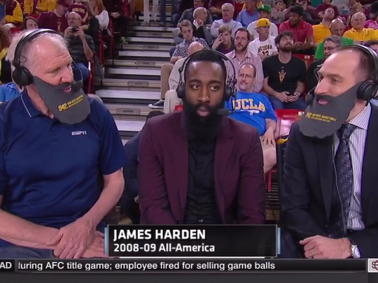 Bill Walton and Dave Pasch wore beards with James Harden.