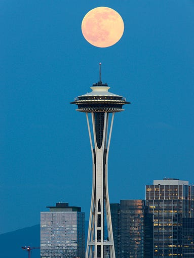 Sunday night's full moon over Seattle was amazing to