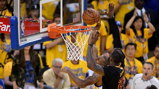 2016 Finals: LeBron James blocks a shot by Andre Iguodala in Game 7.