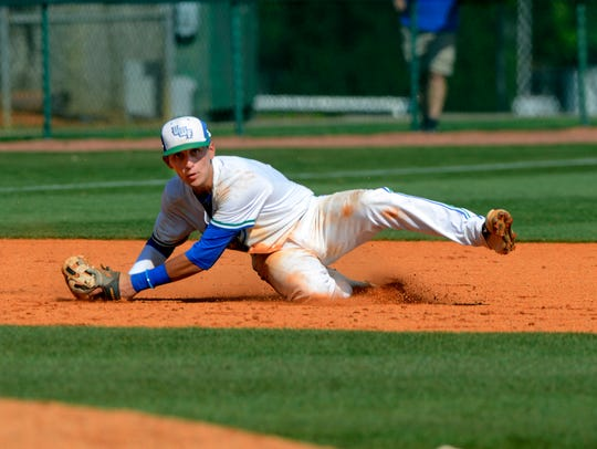 West Florida's Robert Lopez makes the play at third
