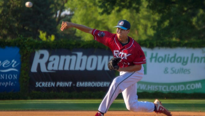 Kyle Boser throws a pitch for the St. Cloud Rox last summer at Joe Faber Field. Boser, who is from Little Falls, returns to the Rox this summer after going 5-6 with a 3.61 ERA in 15 appearances this spring for St. Cloud State.