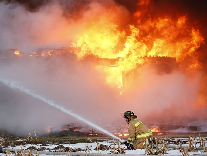 A barn was destroyed by fire on Amity Road near Brandon