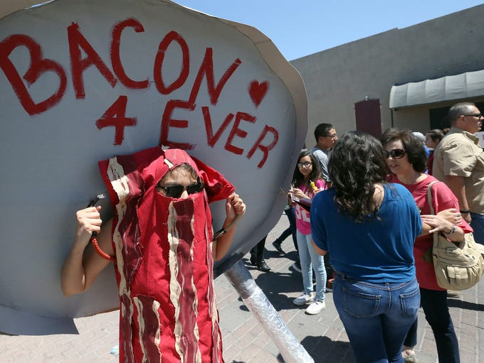 Anell Hernandez dressed as a slice of bacon Sunday