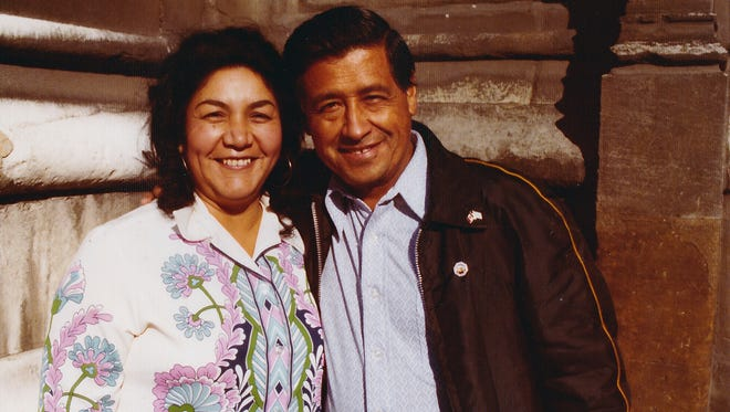 This 1974 photo provided by the Cesar Chavez Foundation shows, Cesar Chavez, right, and wife Helen Chavez, during a European tour promoting the grape boycott in London. Helen Chavez, widow of civil rights and labor leader Cesar Chavez, has died at age 88. A family statement released through the United Farm Workers says Helen Chavez died Monday, June 6, 2016, at a hospital in Bakersfield, Calif., surrounded by many of her children, grandchildren and great grandchildren. No cause of death was given.