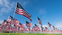 A field of hundreds of American flags.