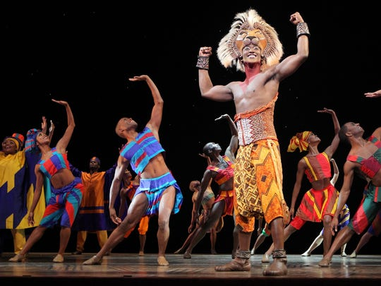"An elaborate headdress helps create the young lion Simba's costume in ""The Lion King,"" which plays through May 17 at the Des Moines Civic Center."