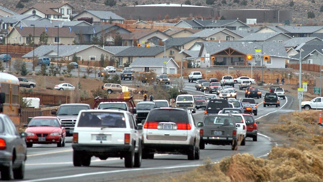 Morning traffic on Eagle Canyon Drive in Spanish Springs.