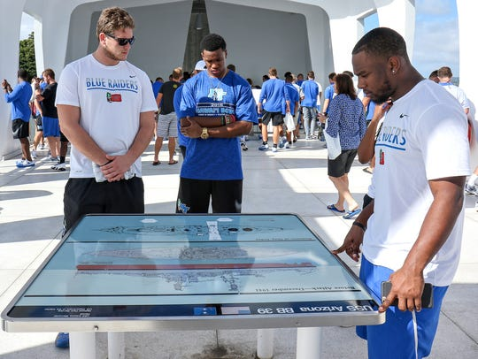 MTSU players and coaches visit Pearl Harbor on Dec.