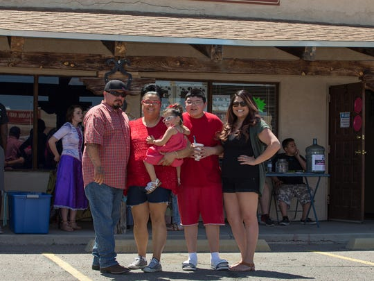 Family members, from left, dad Emilio Zapata, mom Valerie Valencia, Brezziana Zapata, brother Fonse Zapata and aunt Patricia Valencia at a Team Brezzi fundraiser held at Mesilla Valley Healing Arts on May 7, 2018.