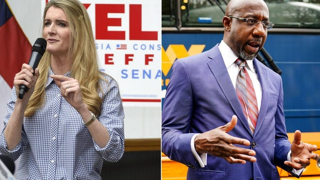 Georgia Sen. Kelly Loeffler, left, and Democratic challenger Raphael Warnock will face off Jan. 5 in one of two special elections in that state that will decide control of the U.S. Senate.